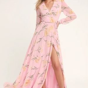 Blush Pink Floral Print Long Sleeve Wrap Maxi Dres